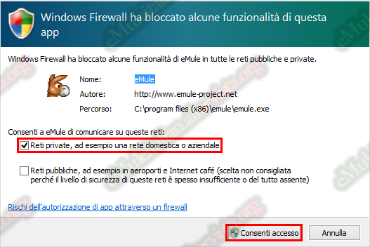 emuleitalian - firewall windows 10